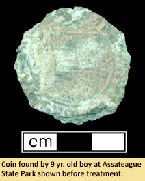 Image of coin found by 9 yr. old at Assateage State Park before treatment
