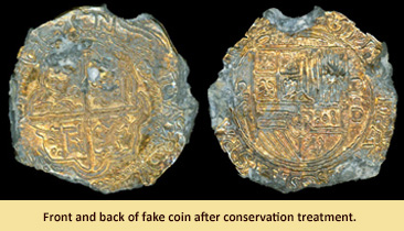 Front and back of fake coin after conservation treatment.