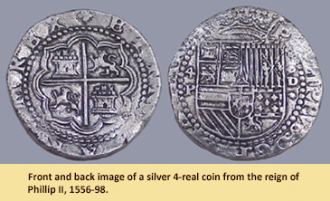 Image of real silver 4-real coin from the reign of Phillip II, 1556-98.