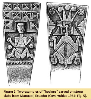 "Image of two examples of ""hockers carved on stone slabs from Manuabi, Ecuador (Covarrubias 1954: Fig. 5)"