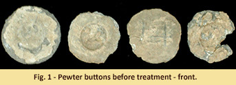 Buttons before treatment