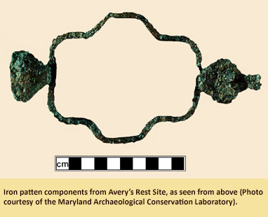Iron patten component from Avery's Rest Site in Delaware.