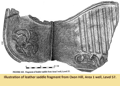 Illustration of decorated saddle found in well.