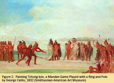 Painting Tchung-kee, a Mandan Game Played with a Ring and Pole by George Catlin, 1832 (Smithsonian American Art Museum).