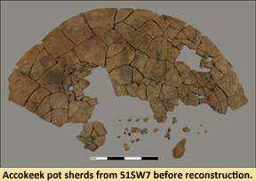 Image of pottery pieces from site 51SW7 in the beginnings of mending before reconstruction.