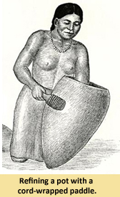 Illustration of a indian woman making pottery.