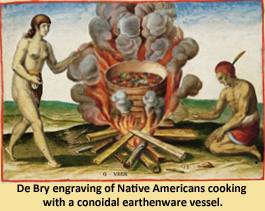 Image of Indians cooking over fire using pots.