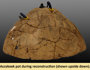 Image of Accokeek pot after reconstruction was done at the MAC Lab.