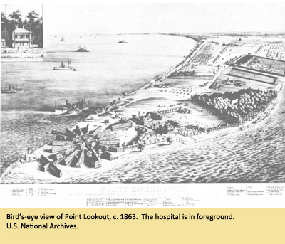 Bird's-eye view of Point Lookout, c. 1863.  The hospital is in foreground.