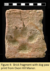 Brick fragment with dog paw print from Oxon Hill Manor.