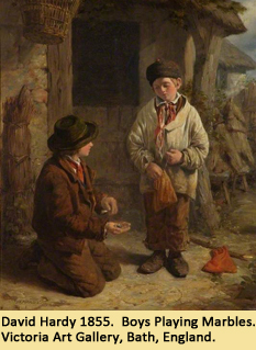 David Hardy 1855.  Boys Playing Marbles.  Victoria Art Gallery, Bath, England.