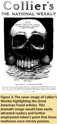 Figure 3: The cover image of Collier's Weekly highlighting the Great American Fraud articles. This dramatic image would have easily attracted readers and further emphasized Adam's point that these medicines were merely poisons.