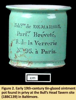 Ointment pot found in privy at Bull's Head Tavern in Baltimore.