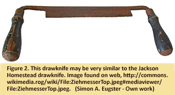 Photo found on web of  drawknife very similar to one found at Jackson Homestead, but with handles still intact.