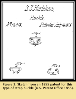 Figure 2: Sketch from an 1855 patent for this type of strap buckle (U.S. Patent Office 1855).