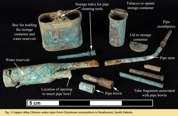 Fig. 1 Copper alloy Chinese water pipe from Chinatown excavations in Deadwood, South Dakota.