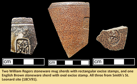 Two William Rogers stoneware mug sherds with rectangular excise stamps, and one English Brown stoneware sherd with oval excise stamp. All three from Smith's St. Leonard site (18CV91).