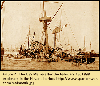 Figure 2.  The USS Maine after the February 15, 1898 explosion in the Havana harbor. http://www.spanamwar.com/mainewrk.jpg