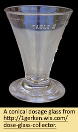 A conical dosage glass.
