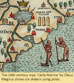 The 16th century map 'Carta Marina' by Olaus Magnus shows ice skaters using poles.