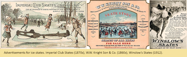 Advertisements for ice skates. Imperial Club Skates (1870s), W.W. Knight Son & Co. (1860s), Winslow's Skates (1912).