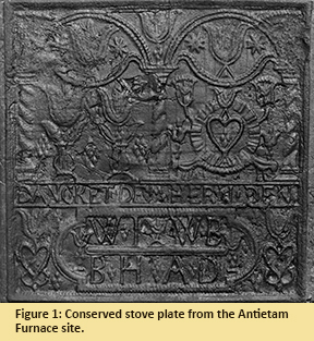Figure 1: Conserved stove plate from the Antietam Furnace site.