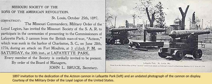 1897 invitation to the dedication of the Acteon cannon in Lafayette Park (left) and an undated photograph of the cannon on display. Courtesy of the Military Order of the Loyal Legion of the United States.