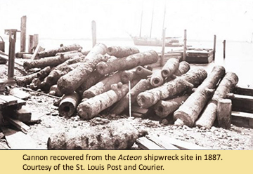 Cannon recovered from the Acteon shipwreck site in 1887. Courtesy of the St. Louis Post and Courier.