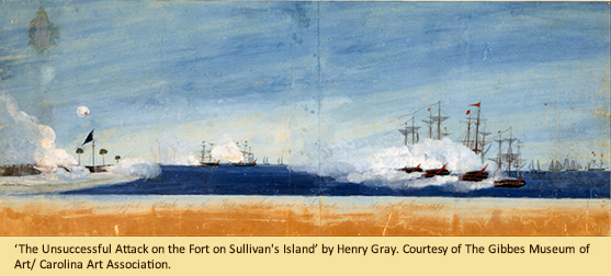 'The Unsuccessful Attack on the Fort on Sullivan's Island' by Henry Gray. Courtesy of The Gibbes Museum of Art/ Carolina Art Association.