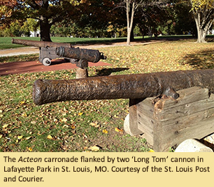 The Acteon carronade flanked by two 'Long Tom' cannon in Lafayette Park in St. Louis, MO. Courtesy of the St. Louis Post and Courier.