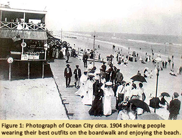 Ocean City, MD photo circa 1904 showing people wearing their best outfits on the boardwalk
