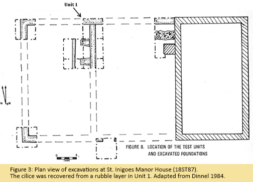 Figure 3: Plan view of excavations at St. Inigoes Manor House (18ST87). The cilice was recovered from a rubble layer in Unit 1. Adapted from Dinnel 1984.