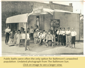 Public baths were often the only option for Baltimore's unwashed population. Undated photograph from The Baltimore Sun.