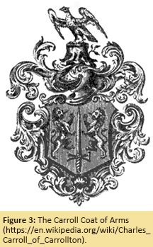 Figure 3: The Carroll Coat of Arms (https://en.wikipedia.org/wiki/Charles_Carroll_of_Carrollton).