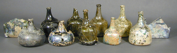 Historic glass bottles that have been conserved at the MAC Lab.